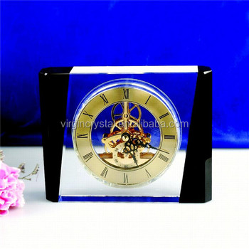 Customized Modern Crystal Clock Office Gifts Wedding Favor Souvenirs