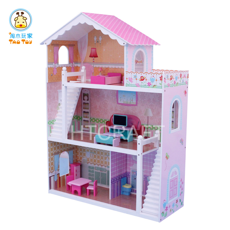 DH601 Large Pink Wooden Doll House Within 17sets Mini Furniture Inside, Stylish Wooden Toys For Wholesale