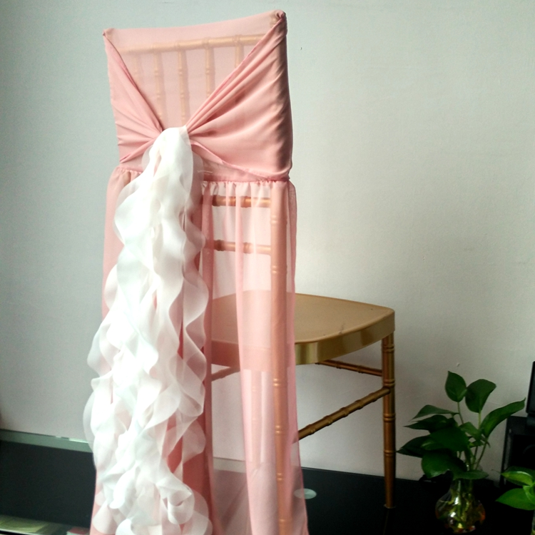 2017 New Design Chiffon Chair Sashes for Wedding Banquet Elegant Sashes for Chair Decoration