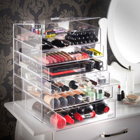 Beautify Extra Large 6 Tier Clear Acrylic Cosmetic Makeup Cube Organizer with 5 Drawers, Upper Compartment & Removable Divider -