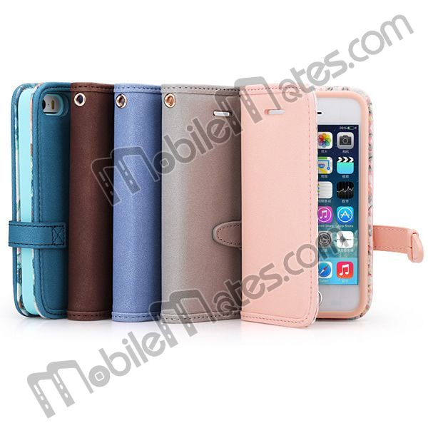 ROCK Style Combo TPU + Leather Flip Wallet Case For iPhone 5s 5 Cover, New Product for iphone accessories Made In China