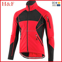 Reflective safety red softshell fabric cycling winter jacket customized design