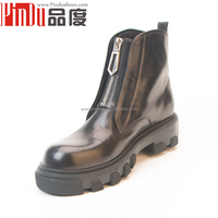 Sexy women motorcycle boots hot sale genuine leather black antiskip ankle booties