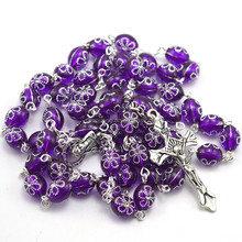 fashion clear purple beads for rosary making Christian rosary necklace