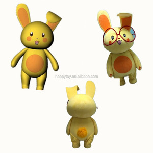 HI Personal cute plush yellow custom human animal rabbit mascot costumes with glasses