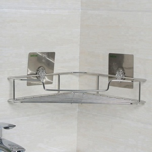 Made In China Stainless Steel Shower Corner Wall Shelf With Magic Sticker