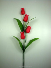 wholesale cheap factory direct 4 heads silk leaves smile tulip artificial flowers