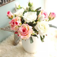 Real Touch 3 heads Flannel Fabric Artificial Rose Flower for Wedding and Home decoration
