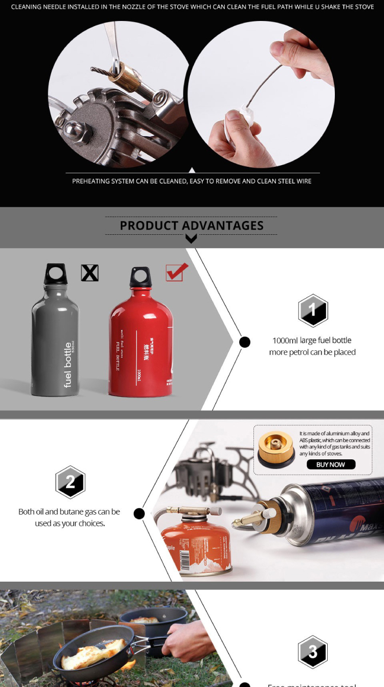 APG 1000ml Big Capacity Outdoor Portable Camping Gasoline Stove