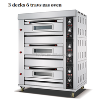 Kitchen Equipment Deck Pizza Bread Cake Baking Oven Gas Bakery oven Factory Price 3 decks 6 trays