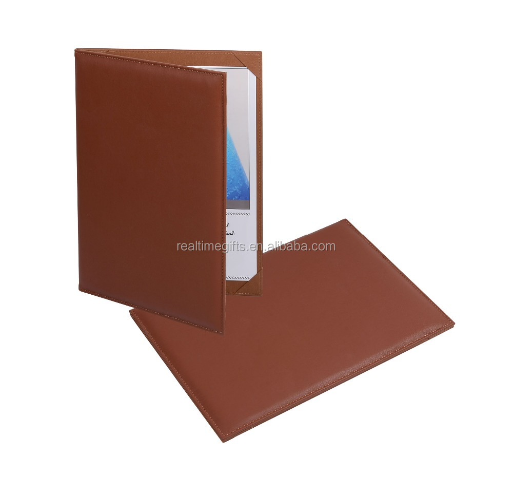 Deluxe brown a4 bifold faux leather menu covers