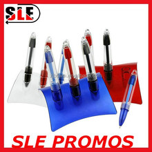 3 in 1 color Plastic desk pen with pen holder