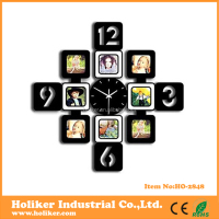 wooden material photo frame wall clock