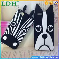 Hot Sale For iPhone 6 case Cute Cartoon Soft Rubber Silicon Dog Horse Zebra Pattern Case Cover For Apple iPhone 6 Plus 5.5 inch