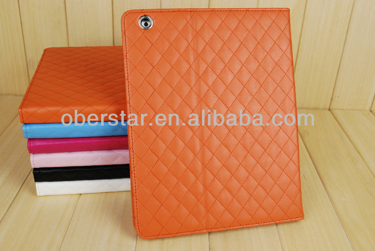 New Korea Edition Diamond Lattice Ultra-thin Smart Dormancy Multi-position Holster Cover Case For iPad 2/3/4