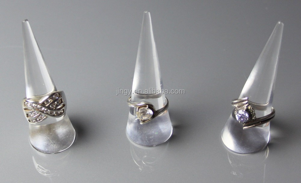 clear lathed cone shaped acrylic finger ring display stand