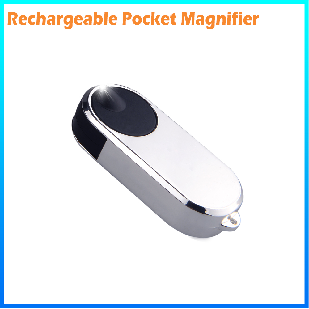 DH-83016 Factory High Quality Rechargeable Foldable Mini Hand Magnifier With Led Light Flashlight