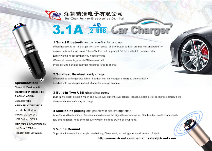 Car Charger wireless 4.0 FM Transmitter 5V 3.1A Total Quick Car Charger Two USB Ports