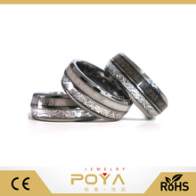 POYA Jewelry European And American Wind 100% Antler Rings, Rare Meteorite Anniversary Ring, Unique Couple Rings Set