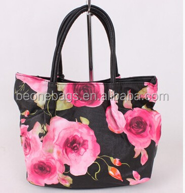 2017 New designs ladies cloth shoulder bags with flower embroider