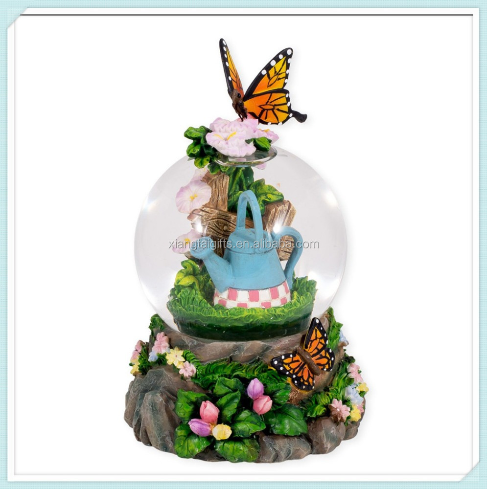 Colorful Butterfly Resin 3D Musical Water Globe