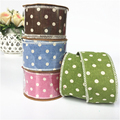 Linen Dots Christmas Ribbon Roll