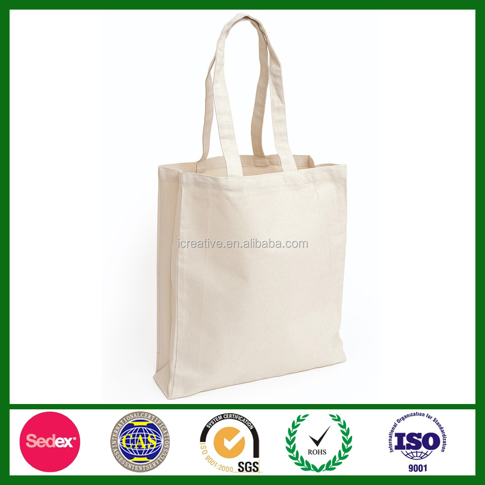 Premium Cotton Long Handled Bag with Gusset in Natural SCC1616