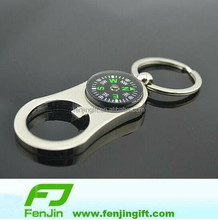 wholesale metal bottle opener keyring with compass