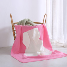 Amazon Hot Selling Pink Rabbit Ear Pattern Baby Blanket Cotton Knitted Baby Bunny Blanket