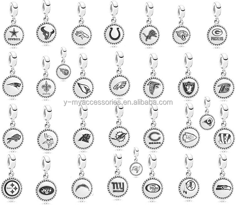 925 sterling silver NFL charms bracelet charms European charms for 3mm snake chain