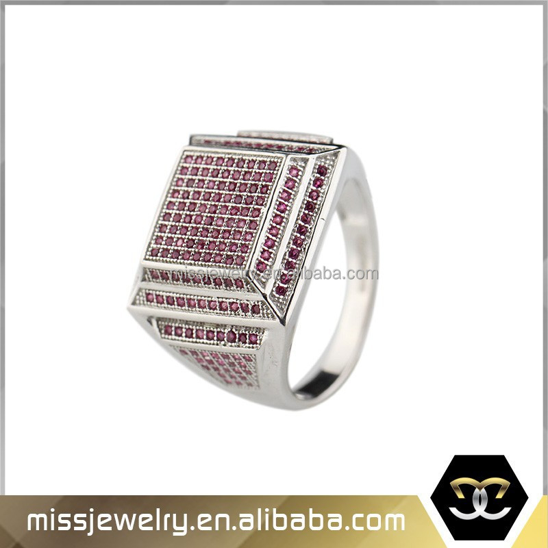 Missjewelry MJHPR007 china manufacture 925 stamped silver plated hip hop micro pave diamond rings price wholsale for hip hop boy