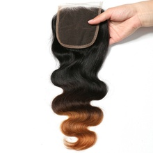 Adorable wholesale body wave straight remy indian human hair three tone 4*4 lace closure for wigs color T1b-4-27