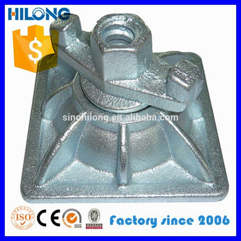 Formwork ductile iron casting plate with wing nut