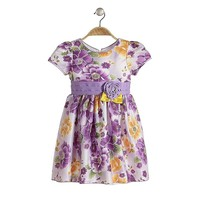 flower dress for Xmas party baby girl frocks for evening party lilac printed dress with handmade flower