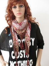 Lady handmade tassels square polyester scarf buyer