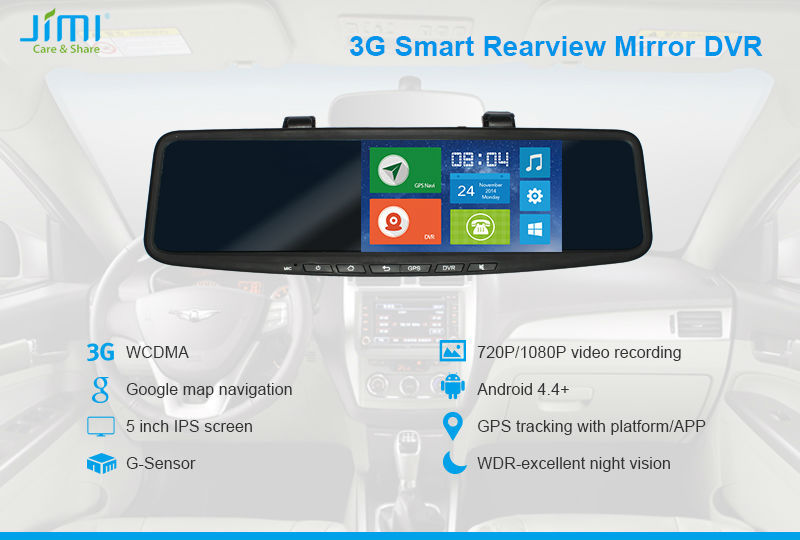 JIMI JC600 3G Android Camera On Rear View Mirror Hand Free Devices For Cell Phones