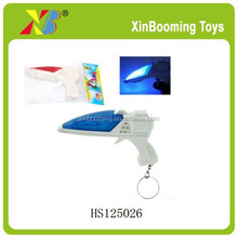 Mini plastic eight sounds gun with key ring mini toy gun