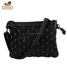 2015 lady new style skull bags, fashion studs and rivets for bags, lady shoulder long strip bag