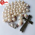 White religious st. Benedict imitation pearl glass bead rosary cross pendant chain necklace