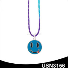 Blue silly face emoticon emoji lurex stretch cord metal jewelry necklace