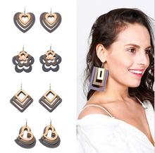 New arrived 2017 HOT Fashion European square wood combination African drop Wood Earrings
