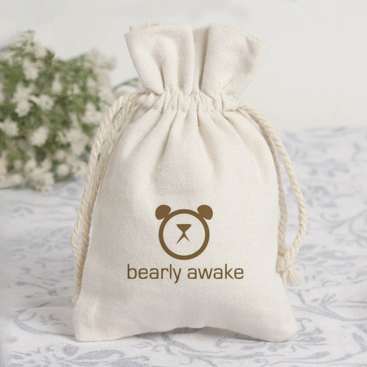 Wholesale customized logo eco-friendly cotton canvas rope muslin drawstring pouch bag