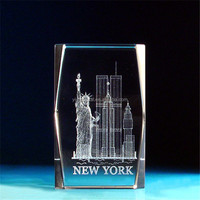 new products K9 glass cube/blocks 3d laser engraved crystal Statue of Liberty