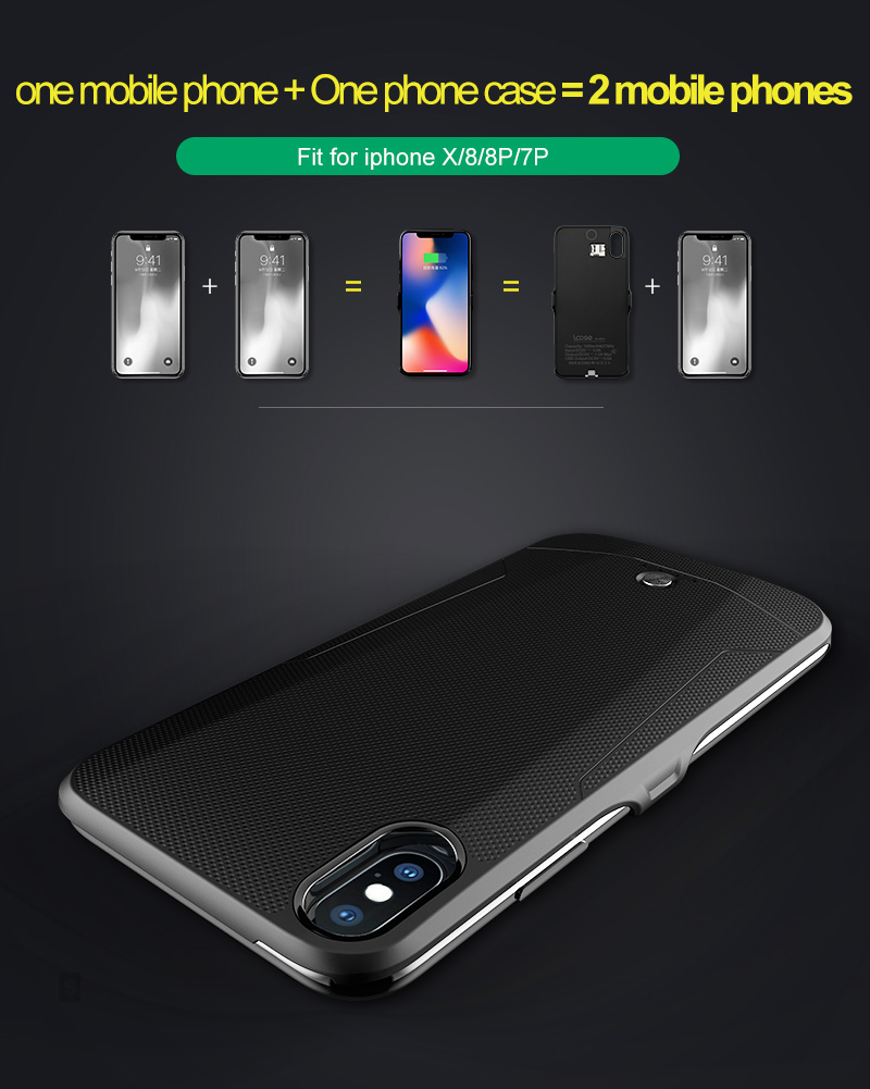 Creative Hot Selling Mobile Phone Case Dual Sim Card Dual Standby With Power Bank For iPhone X