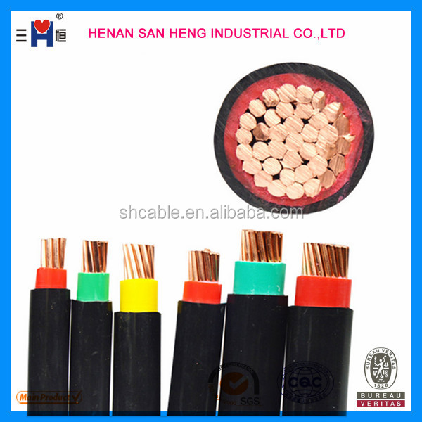 0.6/1kv low voltage Copper Core XLPE Insulated PVC Jacket Electric Power Cable Sizes