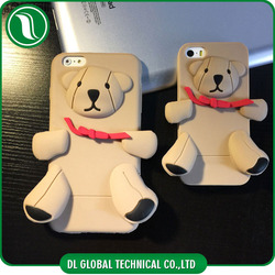 Alibaba china low price teddy bear protector case for iphone 6 3D soft silicone cell phone case for iphone 6 plus