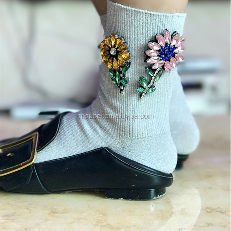 Women sliver yarn bling bling young girl rhinestone flower lady decorated ankle high fashion make <strong>u</strong> happy socks
