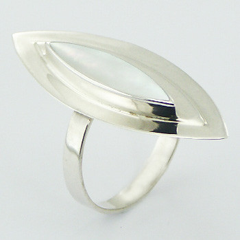 Mother of Pearl Ring Layered 925 Silver Marquise Shapes