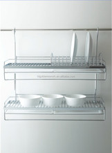 Adjustable kitchen shelf double bowel and plate holder