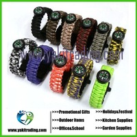 Outdoor Camping Paracord Parachute Cord Emergency Kit Survival Bracelet Rope with Whistle Buckle Compass